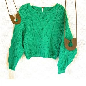 Free People Cotton Sweater Green